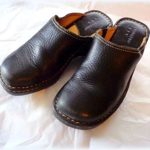 Woman's Black Leather Clogs by Covington